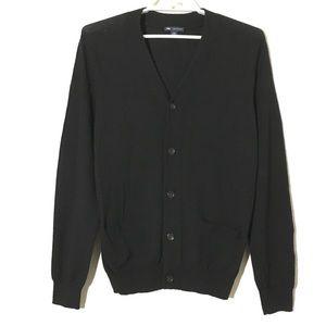 Gap Cardigan Sweater 100% Merino Wool Black Sz M
